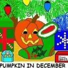 ACEO Art Card PUMPKIN IN DECEMBER Series Halloween jack o' lantern Christmas Xmas digital cards