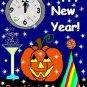 ACEO Art Card PUMPKIN IN JANUARY Series New Year's Eve Day Halloween jack o' lantern digital cards