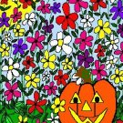 ACEO Art Card PUMPKIN IN JUNE Series June flowers Summer Halloween jack o' lantern digital cards