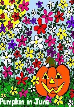 ACEO Art Card PUMPKIN IN JUNE Series June flowers Summer Halloween jack o' lantern digital cards