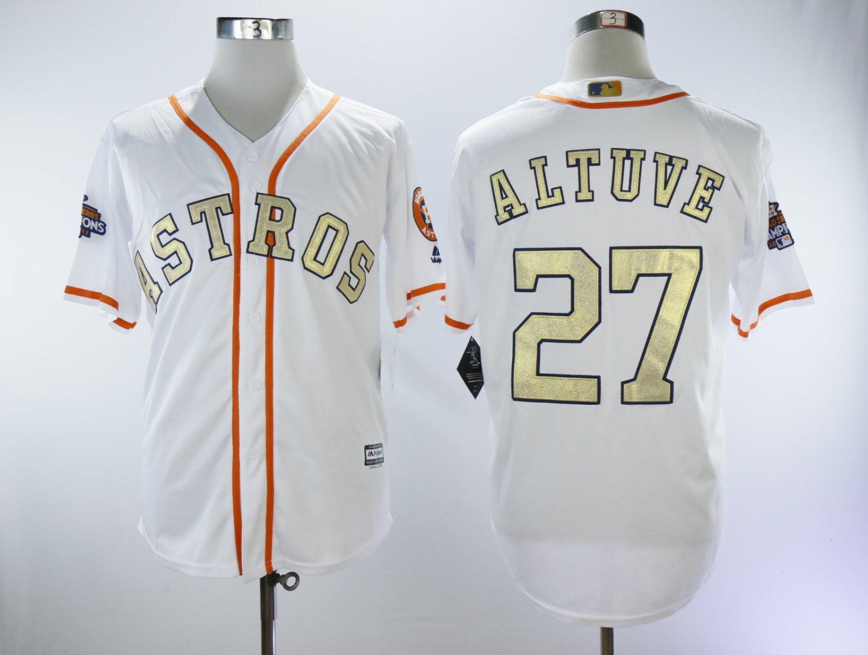 reputable site 6b67c e7c59 Houston Astros Men's #27 Jose Altuve Jersey White Gold Fan Championship  Edition