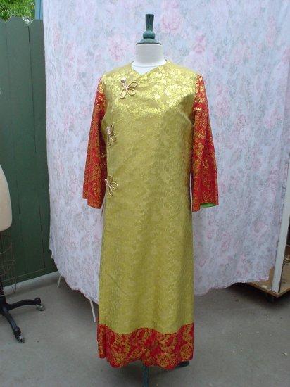 USED - Ethnic metallic lamé tapestry coat