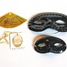 USED -  LOT OF 2 Black Plastic Masquerade Masks (different sizes)