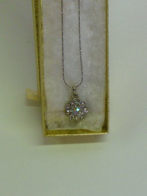 NEW - Silver tone chain with clear & AB rhinestone pendant