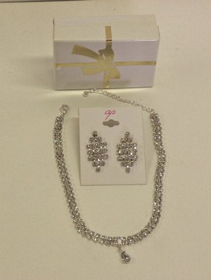 NEW - Rhinestone Choker and Earring Set