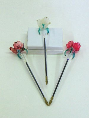 NEW - 3 Handblown Glass Flower Guest Book Pens