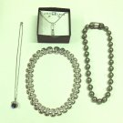 MIXED LOT O: 5 pieces - Pierced Earrings & Necklaces, silver tone