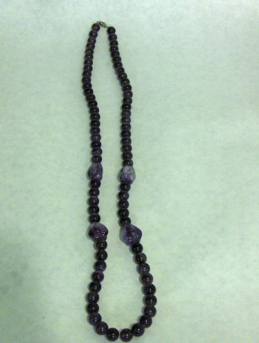 NEW - Amethyst long bead necklace with small silver tone clasp