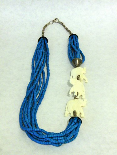 NEW VINTAGE - 1980's Dyed Turquoise Puka Shell and Carved Bone Necklace Set