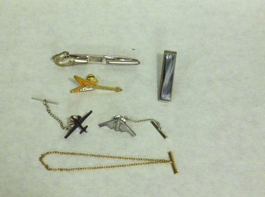 MIXED LOT T: 6 Vintage Tie Pins: Clasp, Chain and Tack Style, Silver & Gold Tones