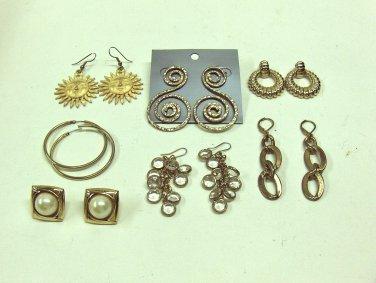 MIXED LOT B: 7 pairs 1980-90's Pierced Earrings, Gold Tones