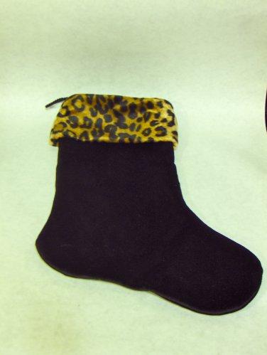 NEW - Unique Black Velvet Christmas Stocking w/Faux Leopard Fur Trim, Fully Lined