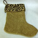 NEW - Unique Camel Chenille Christmas Stocking w/Faux Leopard Fur Trim, Fully Lined