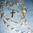 Hand Crafted Rosary: Clear Czech Glass