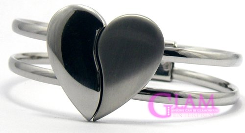 GSB080 NEW! STUNNING SILVER TONE HEART FASHION BANGLE