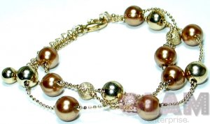 BRONZE PEARL TEXTURED AND GOLD TONE BEADS BRACELET BC3