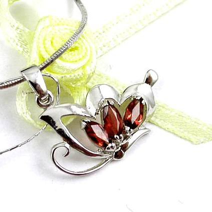 Brand 'LIYING'Fashion 925 Sterling Silver  Pendants With Natural Garnet Diamond