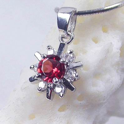 Brand 'LIYING' 925 Sterling Silver Pendant With Natural Ruby