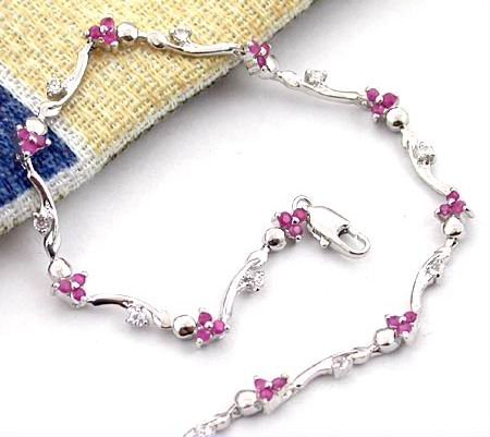 Brand 'LIYING' 925 Sterling Silver Bracelet With Excellent Natural Ruby