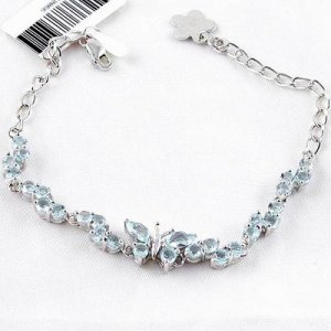 Brand 'LIYING' 925 Sterling Silver Bracelet With Excellent Natural  Blue Diamond