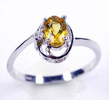 Brand 'LIYING' 925 Sterling Silver Ring with Nature Champagne Diamond