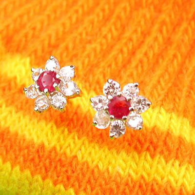 Brand 'LIYING' Fashion 925 Sterling Silver Earrings with Nature  Ruby