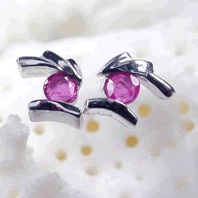 Brand 'LIYING' 925 Sterling Silver Earrings with Natural Ruby