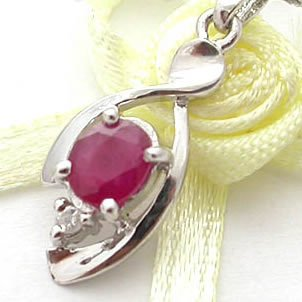 Brand 'LIYING'  Elengant  925 Sterling Silver Pendant with Natural Ruby