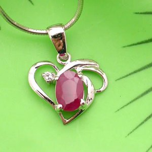 Brand 'LIYING'  Charming  925 Sterling Silver Pendant with Natural Ruby