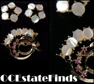 Estate Find - Vintage CORO MOP Demi Earrings & Brooch
