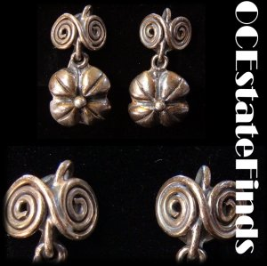 Estate Find - Vintage MEXICO SILVER DECO Earrings