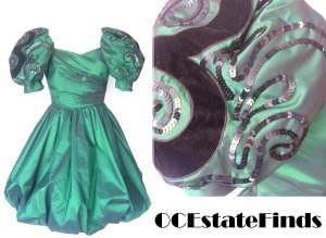 Estate Find- 80s Vintage Green Taffetta Bubble Party Dress - NWT