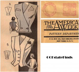 Estate Find - 1940s Vintage Mail Order Vest-Blouse Pattern B 30