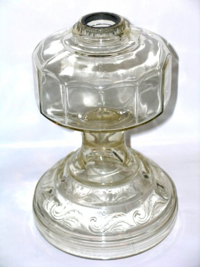 Depression glass EAPG? lamp base oil kerosene amber tint