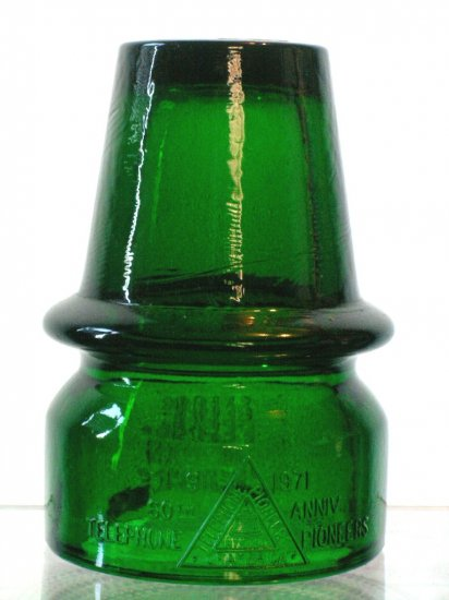 Telephone Pioneers America Emerald Green Insulator Glass Imperial Glass Company Telegraph Telephone