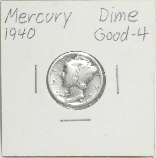 �Mercury' Dime 10 ¢ 1940-P  90 % silver US Coins Great Depression era of 1930's & 40's.
