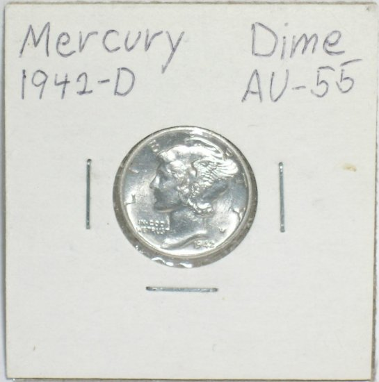 �Mercury' Dime 10 ¢ 1942-D  90 % silver US Coins WWII World War 2 Great Depression