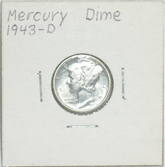 �Mercury' Dime 10 ¢ 1943-D  90 % silver US Coins WWII World War 2 Great Depression