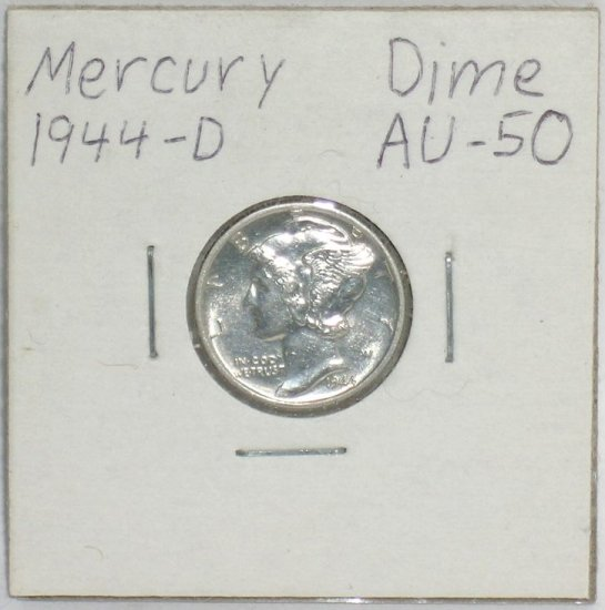 �Mercury' Dime 10 ¢ 1944-D  90 % silver US Coins WWII World War 2 Great Depression