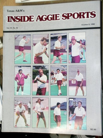 Jackie Sherrill RC Slocum Texas A&M Football Inside Aggie Sports Vol IV, No. XI October 2, 1982
