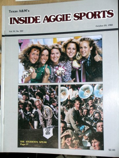 Jackie Sherrill RC Slocum Texas A&M Football Inside Aggie Sports October 23, 1982 Vol IX, No. XIV
