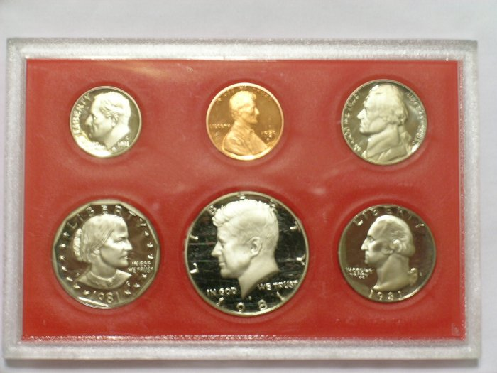 1981 US Proof Set Coins PRF60 SBA Anthony dollar Kennedy half Washington quarter