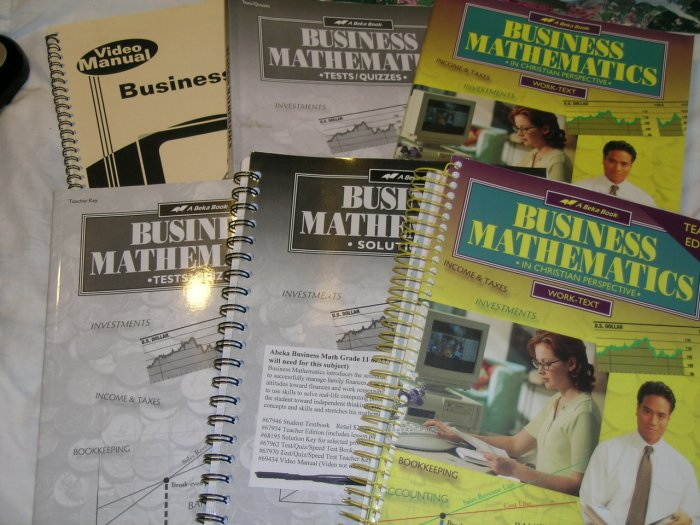 Homeschool Abeka Business Math Grade 11 or 12 (complete Lot of 6