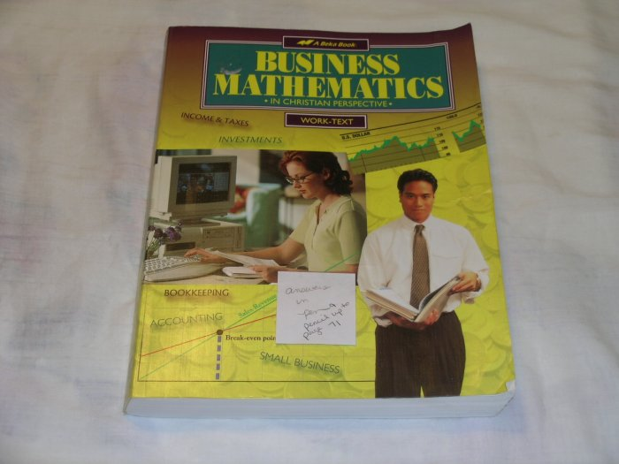 Homeschool Abeka Business Math Grade 11 or 12 Textbook only.