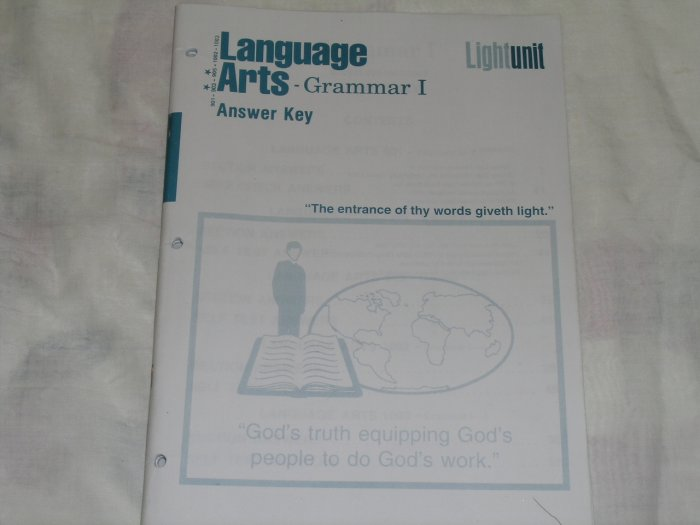 Homeschool Christian Light Education Language Arts Grammar I Answer Key 901-903-905-1002-1003