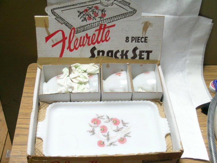 Anchorglass Milk Glass FLEURETTE (8) Piece Snack Set in original box. Anchor Hocking