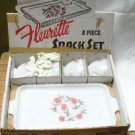 Anchorglass Milk Glass FLEURETTE (8) Piece Snack Set in original box. Anchor Hocking