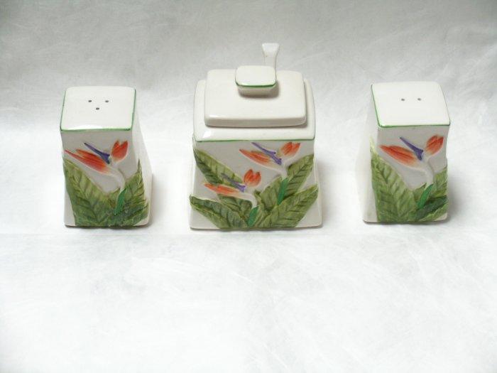 Otagiri Japan ceramic salt pepper sugar set flowers