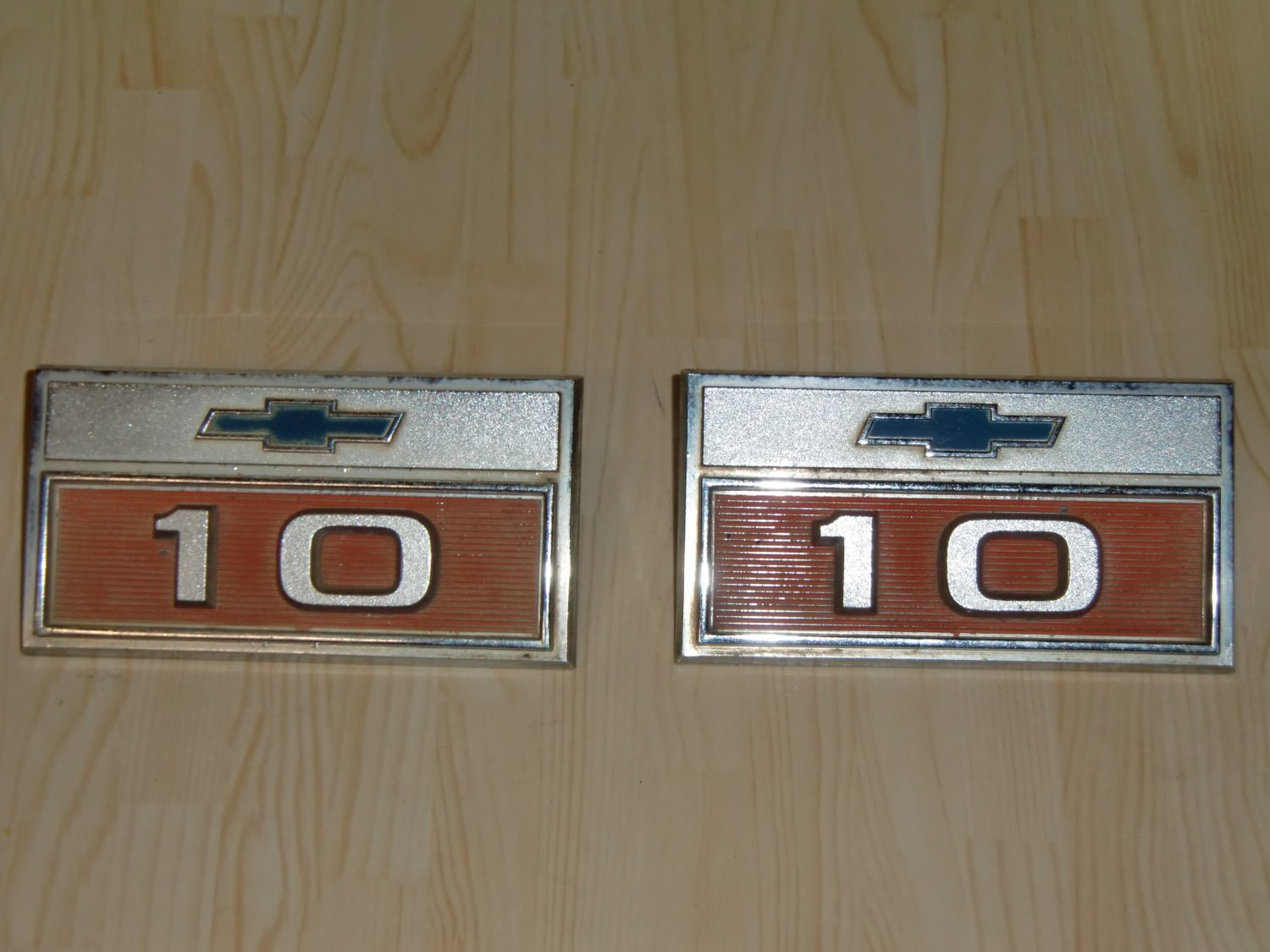 "Chevy Chevrolet 1960's pick-up truck front fender ""10"" badges"