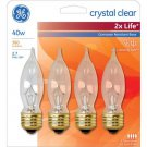 GE 67725 Crystal Clear 40W 2x Longer Life candle shaped bulbs 4 pack bulb - 40CAM2X/BBCD4-TP